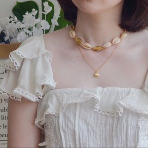 Gold Plated Cowrie Seashell Necklace Choker Set
